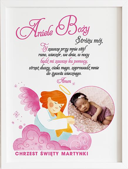 Modlitwa aniele Boży różowy prezent dla dziecka
