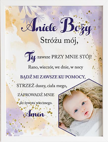Modlitwa aniele Boży violet cloud prezent dla dziecka