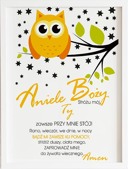 Modlitwa aniele Boży żółta sowa prezent dla dziecka