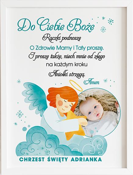 Modlitwa do ciebie Boże niebieski aniołek prezent dla dziecka