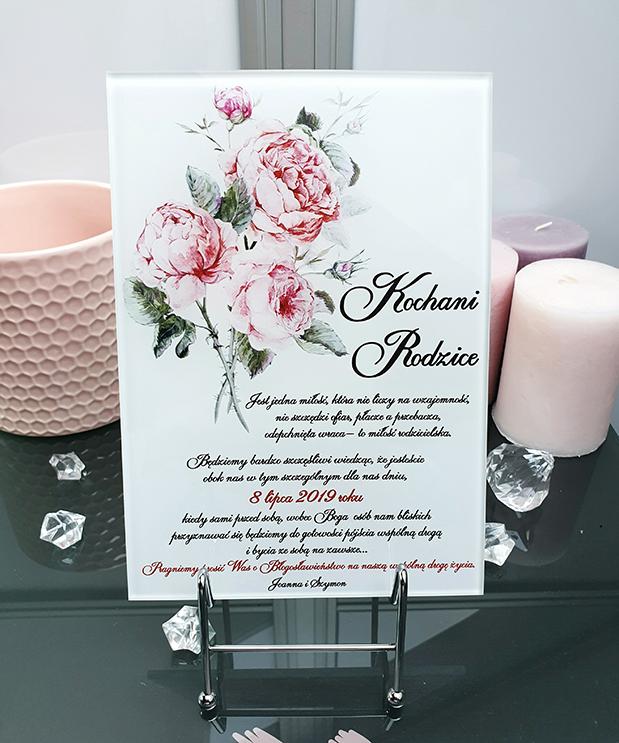 Natural rose zaproszenie na ślub dla rodziców szklana tafla