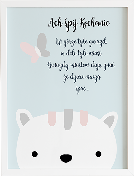 Obraz do pokoju ach śpij kochanie pastelowy kot prezent dla dziecka