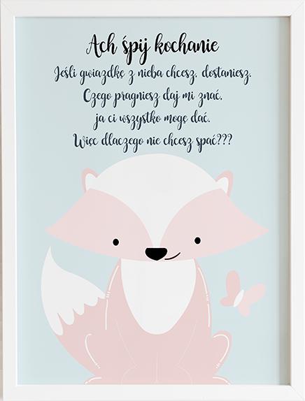 Obraz do pokoju ach śpij kochanie pastelowy lis prezent dla dziecka
