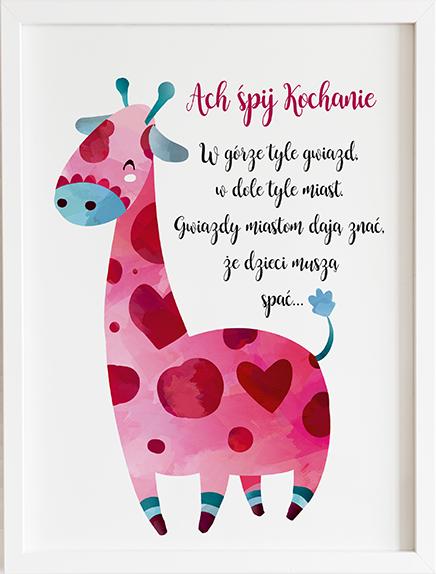 Obraz do pokoju ach śpij kochanie różowa żyrafa prezent dla dziecka