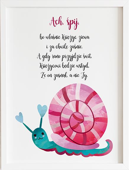 Obraz do pokoju ach śpij kochanie różowy ślimak prezent dla dziecka