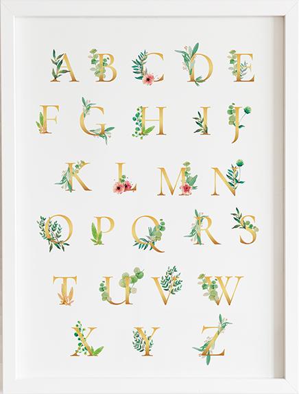 Obraz do pokoju alfabet złoty prezent dla dziecka