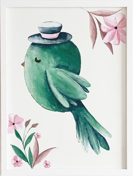 Obraz do pokoju bird green prezent dla dziecka