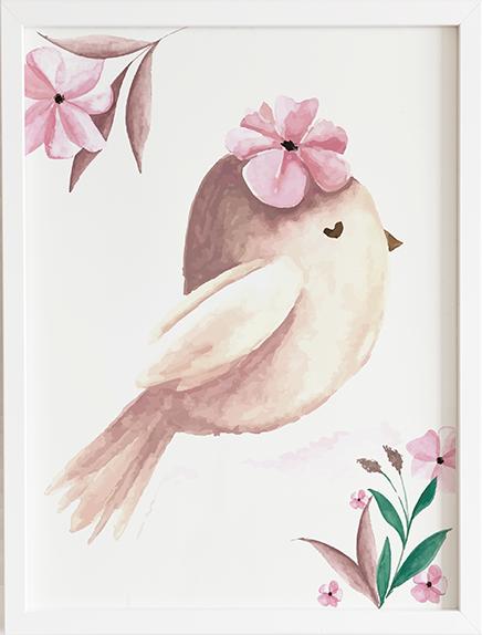 Obraz do pokoju bird pink prezent dla dziecka
