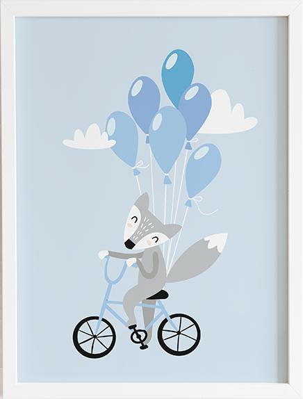 Obraz do pokoju blue pastel series lisek prezent dla dziecka