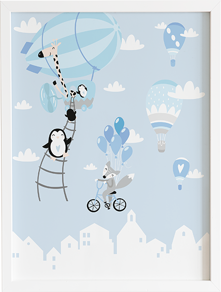 Obraz do pokoju blue pastel series mieszkańcy i ich miasto prezent dla dziecka