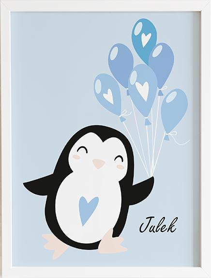 Obraz do pokoju blue pastel series pingwinek prezent dla dziecka