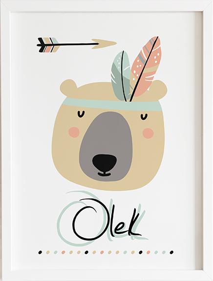 Obraz do pokoju boho niedźwiadek prezent dla dziecka
