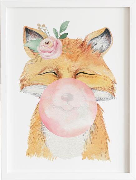 Obraz do pokoju bubble gum fox prezent dla dziecka