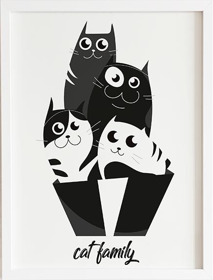 Obraz do pokoju cat family prezent dla dziecka