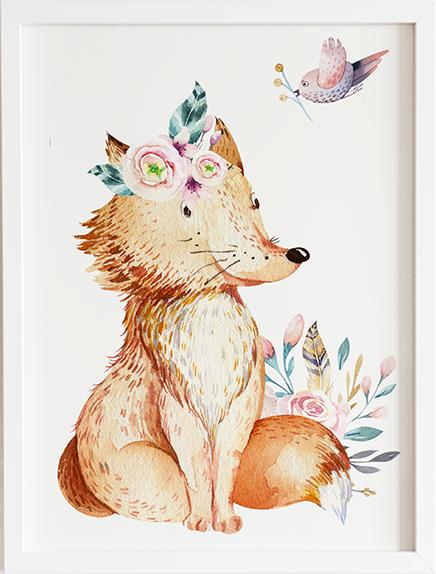 Obraz do pokoju forest lisek prezent dla dziecka