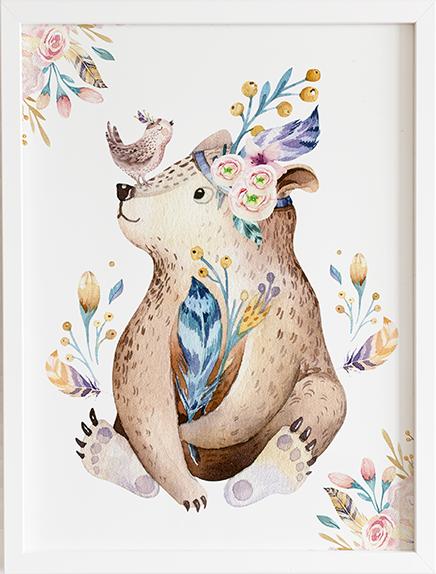 Obraz do pokoju forest niedźwiadek prezent dla dziecka