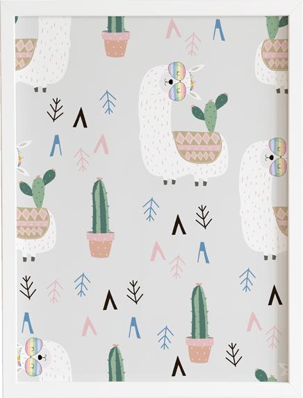 Obraz do pokoju lama cactus party prezent dla dziecka