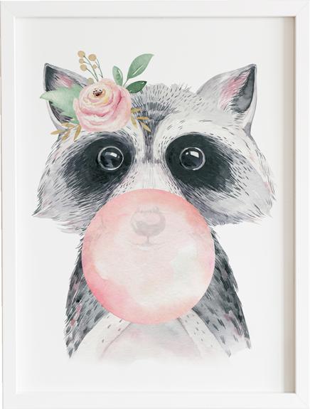 Obraz do pokoju bubble gum racoon - prezent dla dziecka