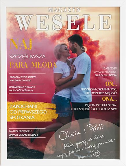 Oryginalny prezent na ślub okładka magazyn weselny 2 obraz z życzeniami