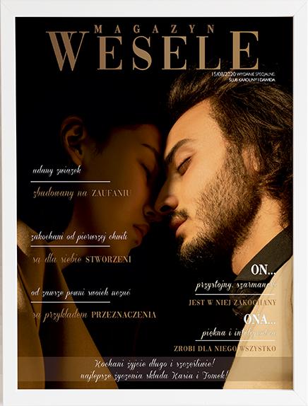 Oryginalny prezent na ślub okładka magazyn weselny 3 obraz z życzeniami