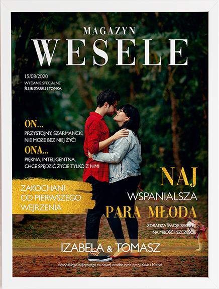 Oryginalny prezent na ślub okładka magazyn weselny obraz z życzeniami