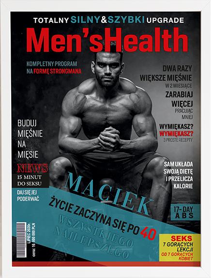 Oryginalny prezent na urodziny okładka men's health 2 obraz z życzeniami