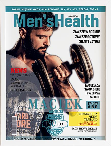 Oryginalny prezent na urodziny okładka men's health obraz z życzeniami