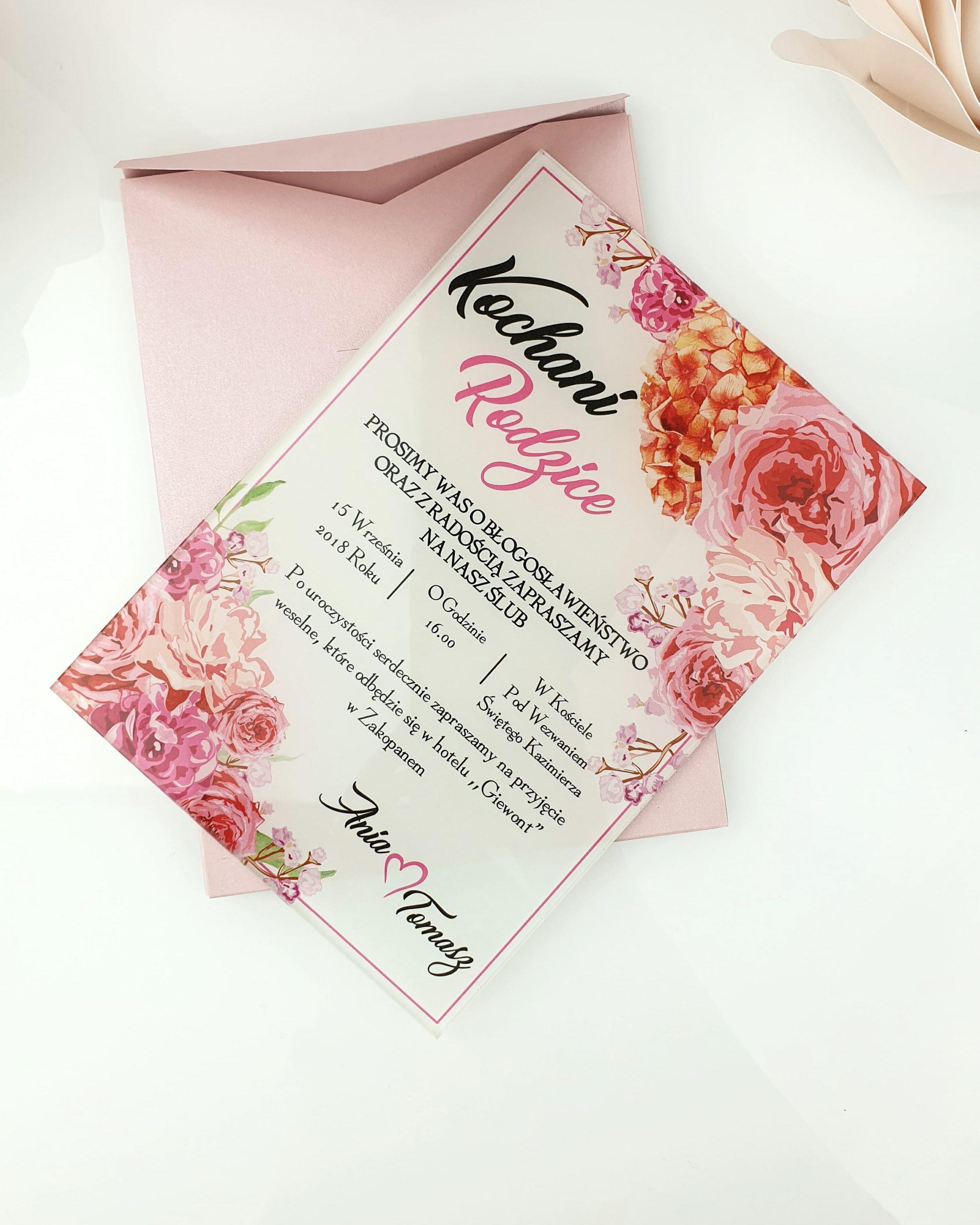 Pink bouquet zaproszenie na ślub szklana tafla