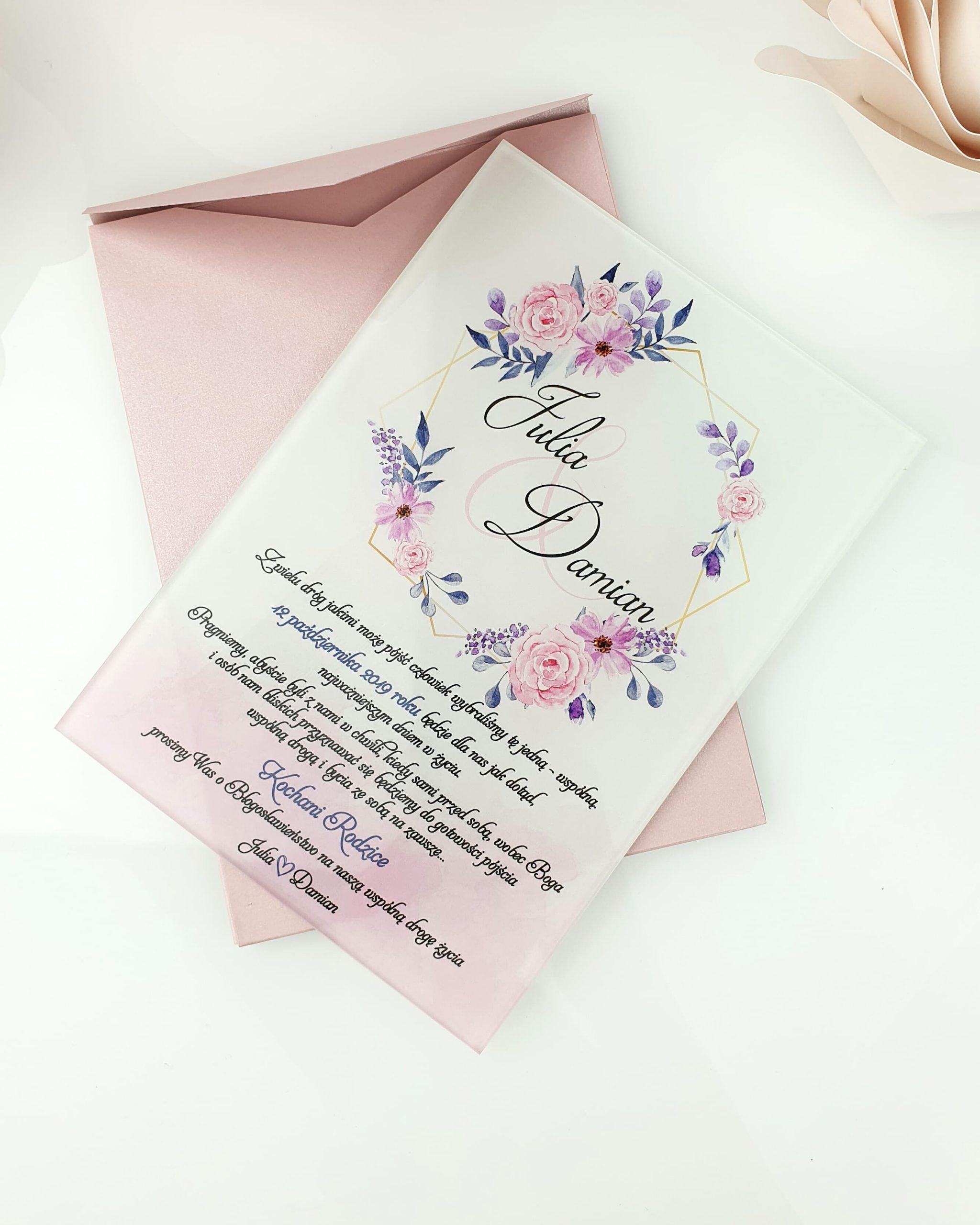 Pink flow zaproszenie na ślub szklana tafla