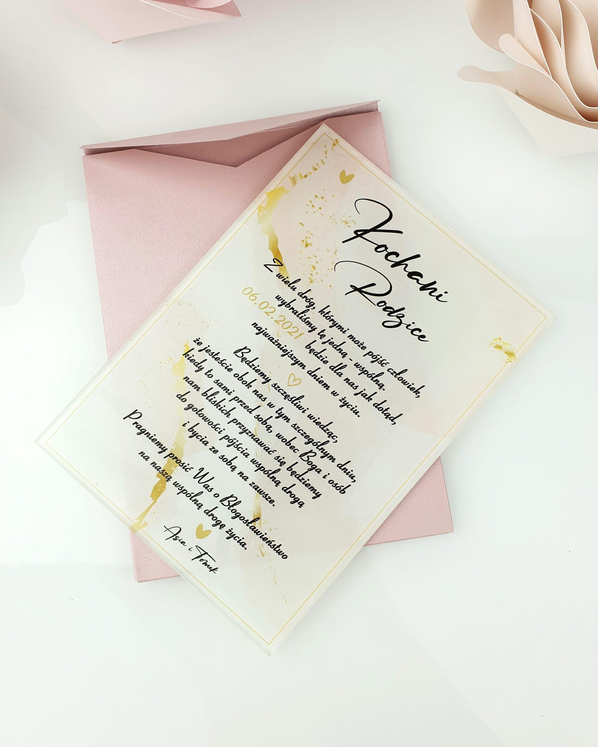 Pink light zaproszenie na ślub szklana tafla