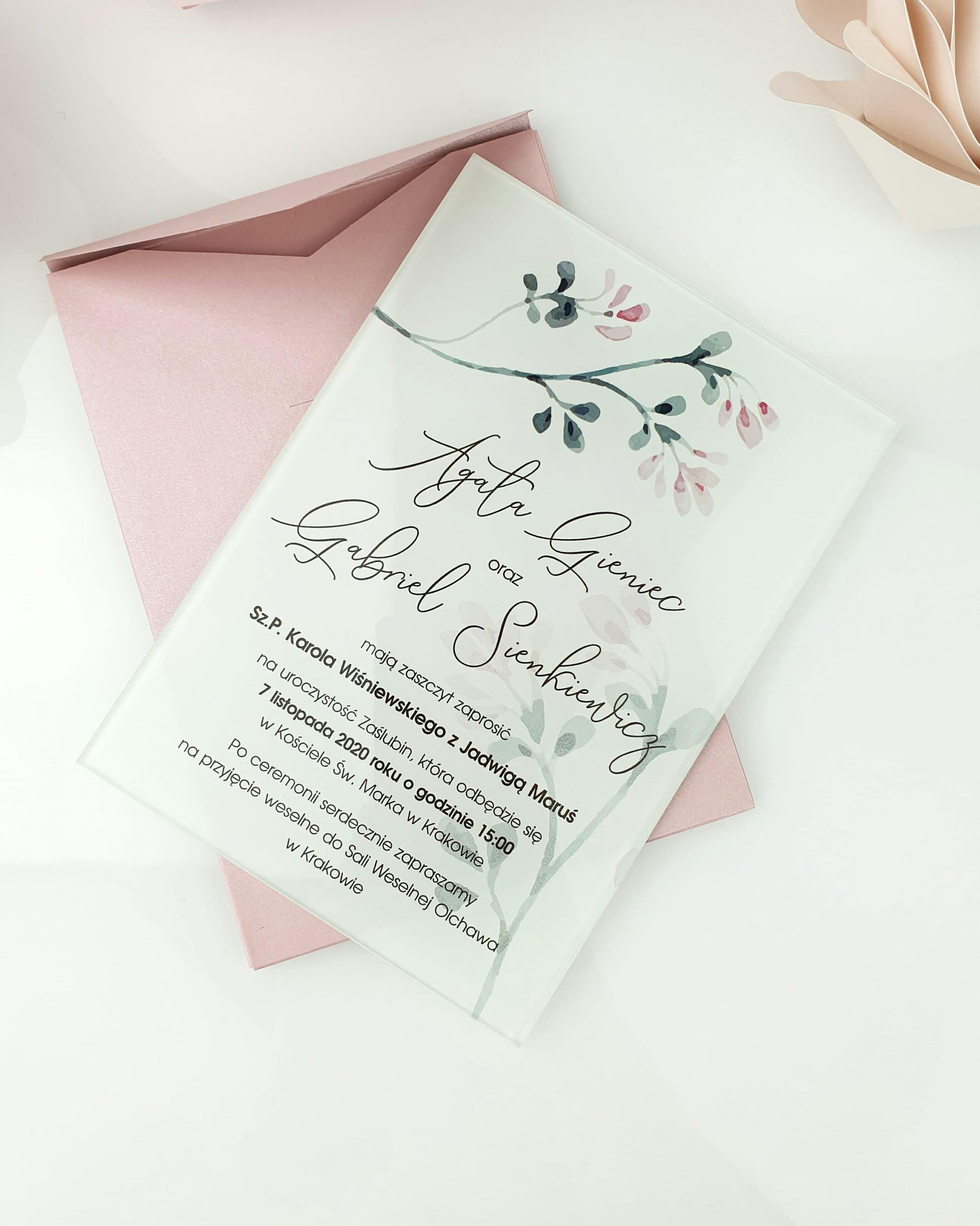 Pink wonder zaproszenie na ślub szklana tafla