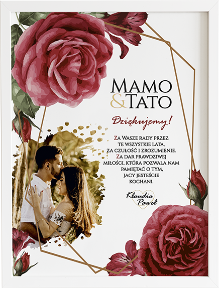 Podziękowanie dla rodziców czerwona róża obraz na ślub