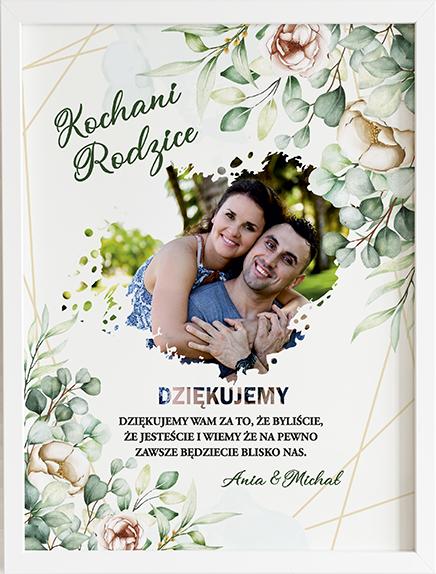 Podziękowanie dla rodziców green bouqet obraz na ślub