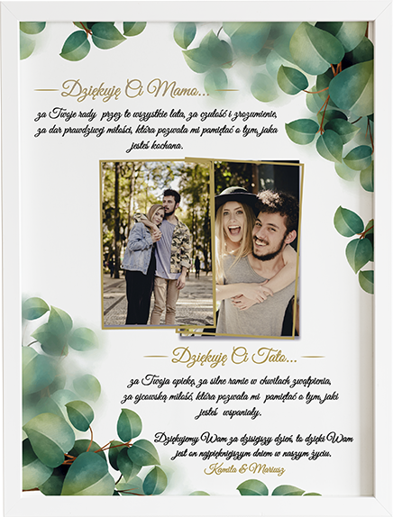 Podziękowanie dla rodziców green flame obraz na ślub