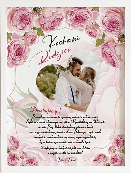 Podziękowanie dla rodziców pink roses obraz na ślub