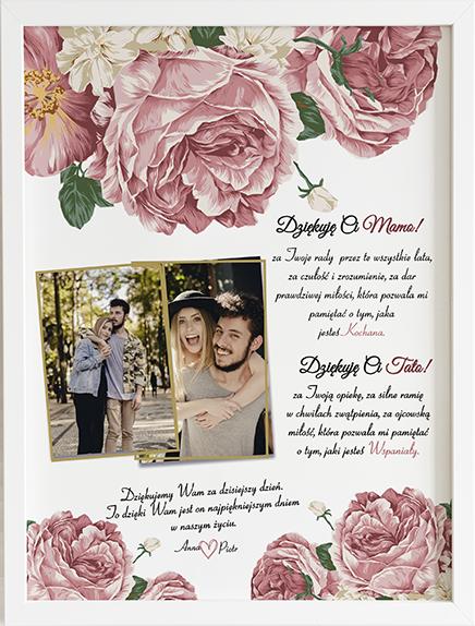 Podziękowanie dla rodziców rose obraz na ślub