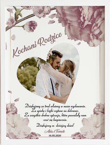 Podziękowanie dla rodziców sweet bloom obraz na ślub