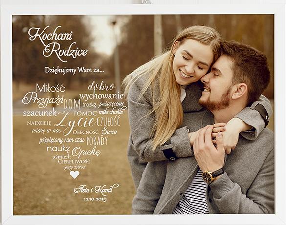 Podziękowanie dla rodziców white heart obraz na ślub