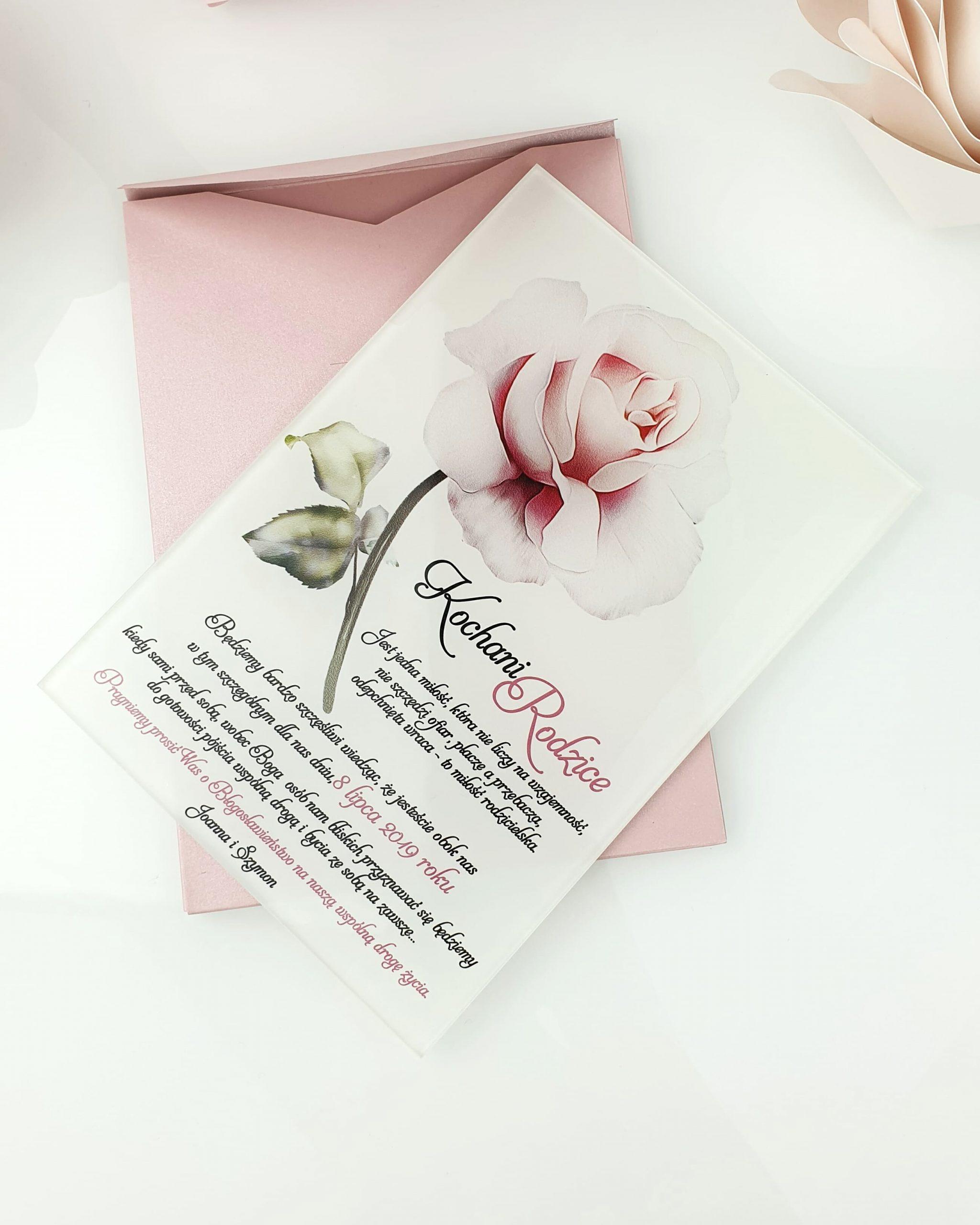 Powder rose zaproszenie na ślub szklana tafla 1