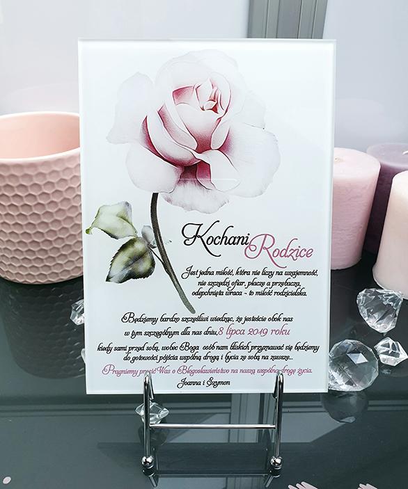 Powder rose zaproszenie na ślub szklana tafla