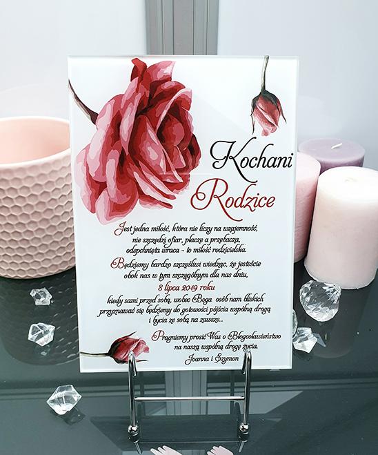 Pretty rose prośba o błogosławieństwo dla rodziców szklana tafla