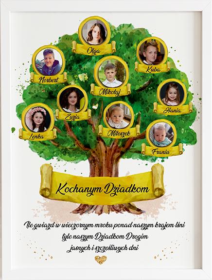 Prezent na dzień babci i dziadka drzewo genealogiczne obraz z życzeniami