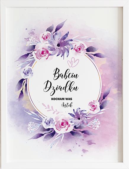 Prezent na dzień babci i dziadka fioletowe kwiaty obraz z życzeniami