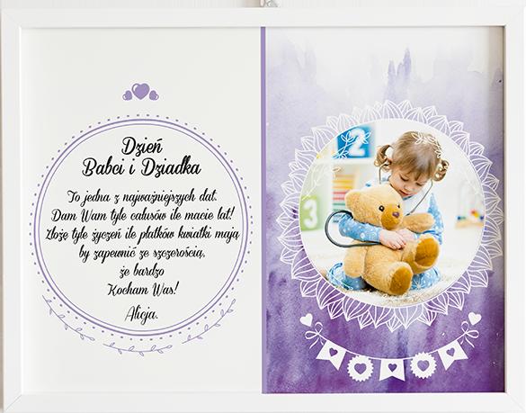 Prezent na dzień babci i dziadka fioletowe ombre obraz z życzeniami