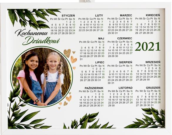Prezent na dzień babci i dziadka kalendarz botanical obraz z życzeniami