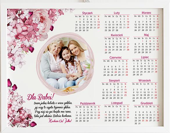 Prezent na dzień babci i dziadka kalendarz bzy obraz z życzeniami