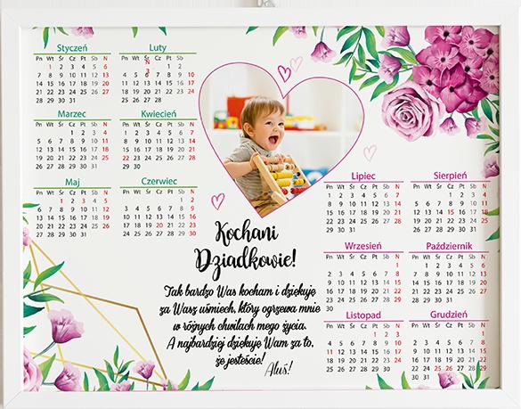 Prezent na dzień babci i dziadka kalendarz fuksjowe kwiaty obraz z życzeniami