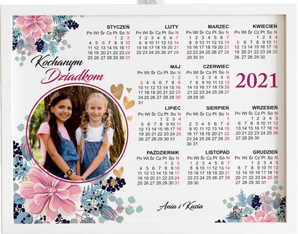 Prezent na dzień babci i dziadka kalendarz lineofblue&pink obraz z życzeniami