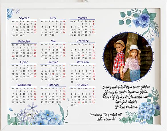 Prezent na dzień babci i dziadka kalendarz niebieskie kwiaty obraz z życzeniami