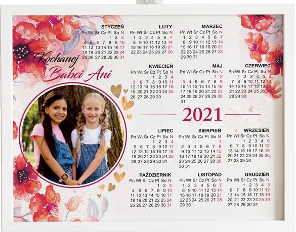 Prezent na dzień babci i dziadka kalendarz polne kwiaty obraz z życzeniami